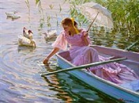 young girl in a boat by aleksandr averin
