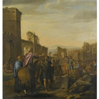 a classical landscape with architechts giving instructions to masons by nicolas colombel