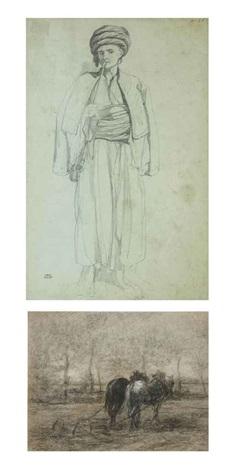 un oriental debout fumant le narguilé by théodore valerio