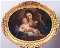 portait d'une jeune mère en vierge avec l'enfant jésus by jean-baptiste santerre