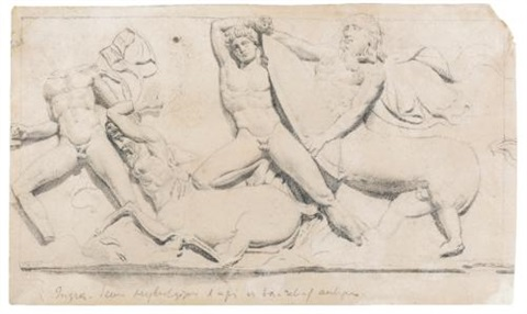 the battle of the titans and the centaurs after an antique relief by jean auguste dominique ingres