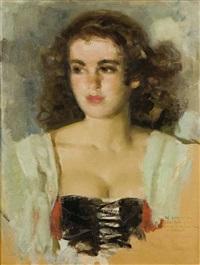 retrato de mujer by josé cruz herrera