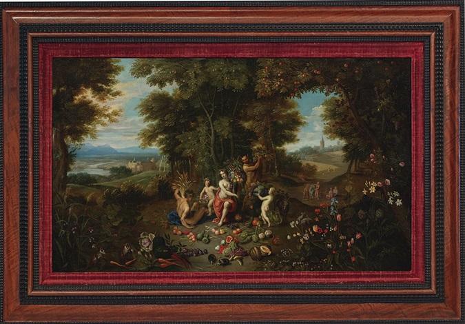 vier allegorische darstellungen der elemente erde wasser luft und feuer by jan brueghel the younger