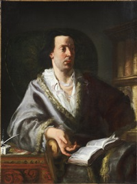 portrait of a gentleman, three-quarter-length, in a silk fur-trimmed coat, seated at his desk, holding a book by gaspare traversi