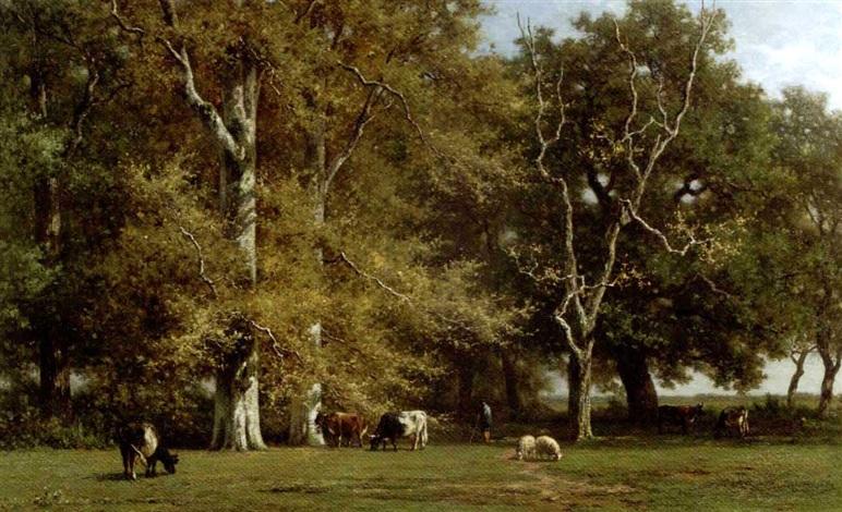 Intérieur de forêt Souvenir de Fontainebleau Cattle grazing by birch ...