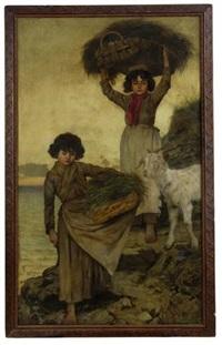 zwei mädchen mit ziege (capri) by christian wilhelm allers