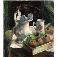 pomegranates and two jugs (+ the artist and his model, verso) by claude rogers