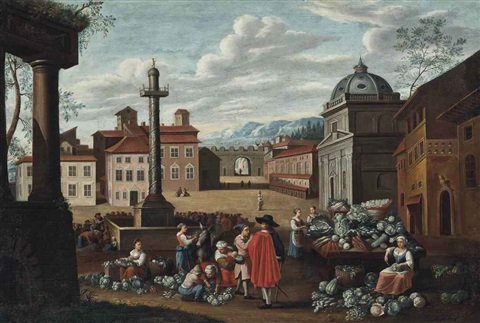 a market scene piazza colonna rome by hendrick mommers