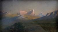 dolomiten im abendlicht (+ hochgebirgslandschaft, smaller; 2 works) by erich von gasteiger