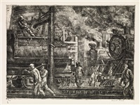 erie r.r. locos watering by reginald marsh