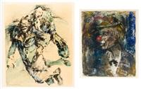 august - deux clowns (2 works) by alex wauters