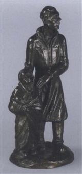 stehender im mantel, ein kind beschützend by hermann geibel