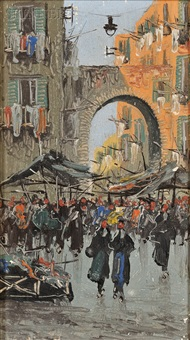 street scene (naples?)(+ another; 2 works) by fernando del basso