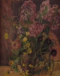 stillleben mit sommerblumen in vase by walter honeder