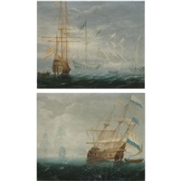 dutch and spanish ships on calm seas (pair) by aert van antum