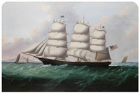 a three masted american clipper by william howard yorke
