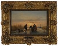 pêcheurs sur un lac gelé by hermanus koekkoek the elder