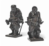 figures of diogenes and a philosopher (pair) by pierre legros