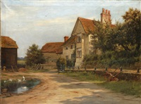 farm bulding and a pond by robert morley