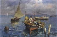 fischerboote vor der küste von capri by roberto scognamiglio