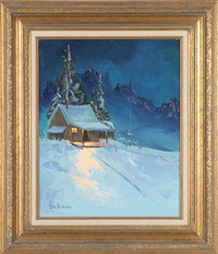 an alaskan cabin in winter landscape by gene amondson