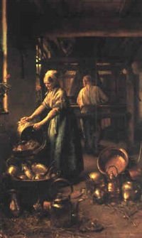 man weaving and a woman polishing pewter pots in an interior by h.j. meurisse-franchomme