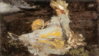 dame assise au bord de la rivière by henri (hirne) le riche