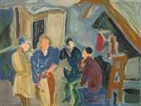 figures in a cafe by shimshon holzman