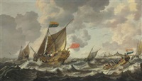 a rowing vessel approaching a zeeland states yacht firing a salute, in choppy sees off vlissingen, with other shipping beyond by bonaventura peeters the elder