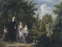 portrait of a gentleman and a lady, the latter seated on a bench with their two children and dog in the park of elswout, overveen, a pond and cupula beyond by adriaen de lelie