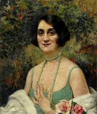 woman with a beaded necklace by leopold pilichowski