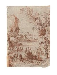 paesaggio fluviale con pescatori by giuseppi maria figatelli