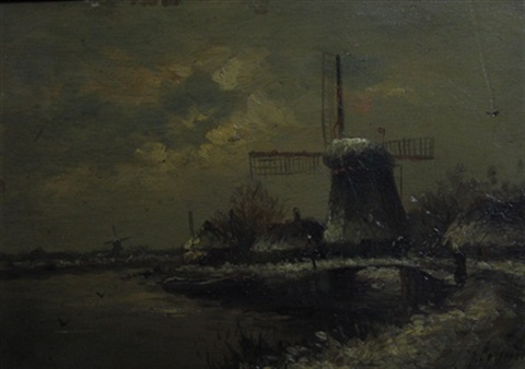 dutch landscape with windmill by de groot
