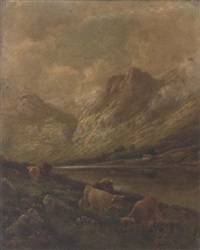 highland cattle, perthshire by albert dunington