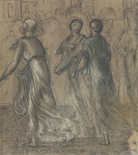 a study for st. george and the dragon: the return of the princess by edward burne-jones