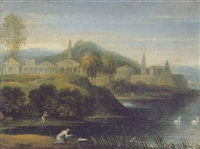 a classical italianate landscape with the finding of moses by thomas blanchet