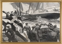 a wwi u-boat prepares to board a sailing vessel. en grisaille by courtney allen