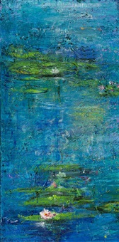 blue water with lillies by mark davis
