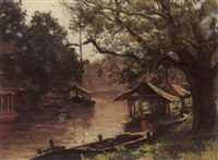 a river scene by wilhelm christiaan constant bleckmann