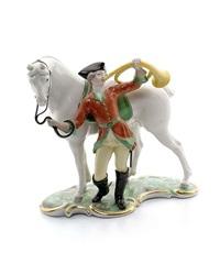 statue reiter mit horn und hunde