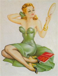 woman in green with mirror and book: why men like women by cardwell spencer higgins