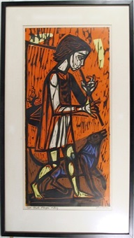 flute player and dog by irving amen