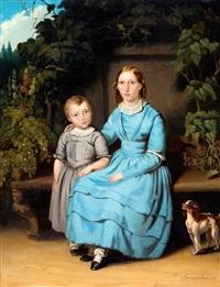 broer en grote zus met hun hondje by johannes christoffel vaarberg