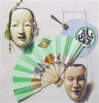 still life with chinese masks and fans by martin battersby