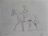 jockey sur son cheval, prix banstar à maison-lafitte (+ jockey au galop, verso) by karl andré jean (baron) reille