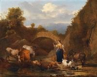 landschaft mit hirtin und viehherde an einem wasserlauf by jacob van der bent
