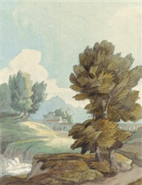 italian landscape with buildings by a stream by francis towne