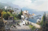 a busy coastal path on the bay of naples, vesuvius beyond by robert alott