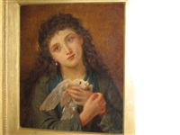 young girl with a dove by sophie anderson