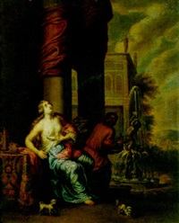 cleopatra with a servant in a park setting by jan von sandrart